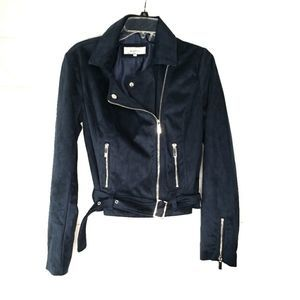 Wildflower Blue Faux Suede Moto Jacket Size Small